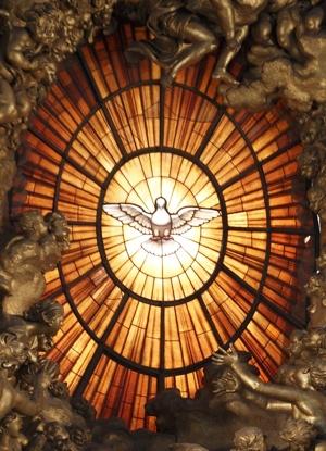 SCULPTURE NEAR HOLY SPIRIT WINDOW IN ST. PETER'S BASILICA
